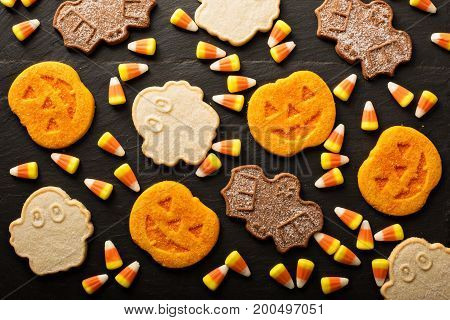 Halloween pumpkin, bats and ghosts sugar cookies