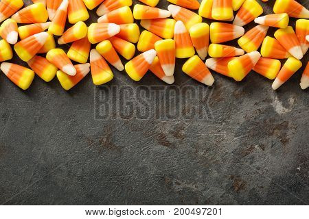 Candy corn Halloween background overhead shot with copy space
