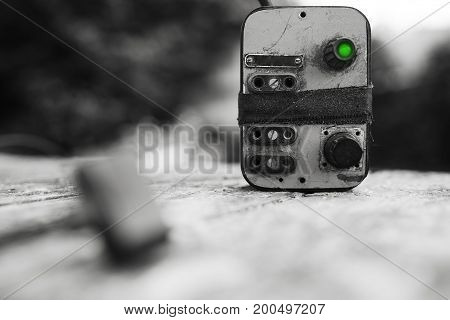 Cyberpunk power control green switch bokeh background hd