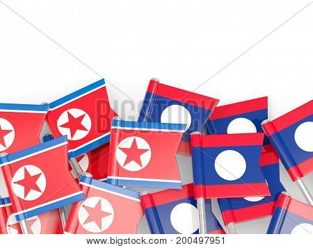 Flag Pins Of North Korea (dprk) And Laos Isolated On White