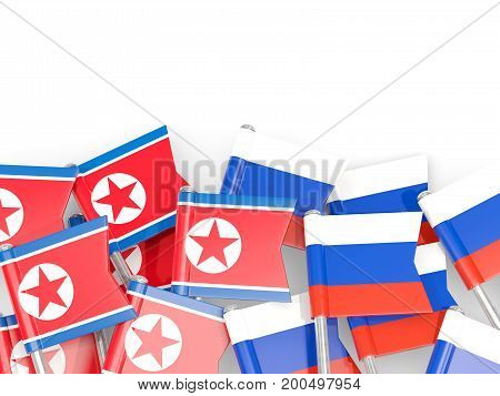 Flag Pins Of North Korea (dprk) And Russia Isolated On White