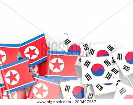 Flag Pins Of North Korea (dprk) And South Korea  Isolated On White
