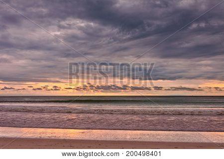 Gloomy tropical sunset at the beach. Thailand