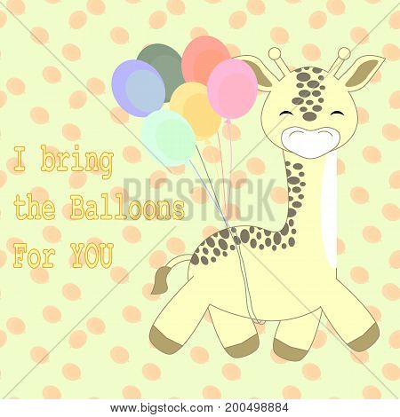 an illustration of a giraffe brings balloons with happy face