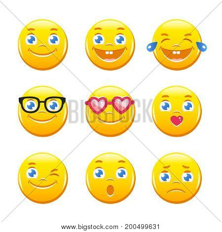 Set of cute cartoon emoticons. Emoji icons vector pack. Yellow smiley faces