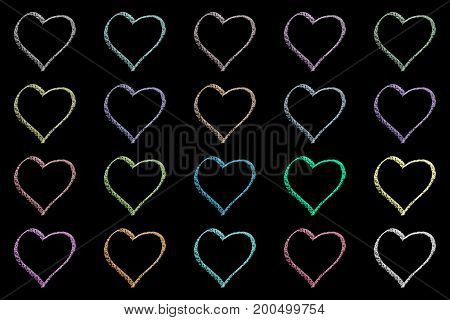 seamless hand drawn chalk pattern isolated on black background