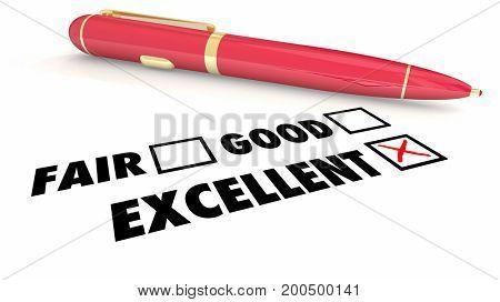 Excellent Score Rating Review Pen Check Boxes 3d Illustration