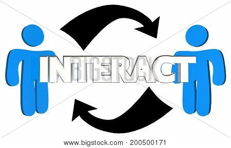 Interact Two People Arrows Talking Communication 3d Illustration