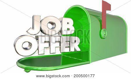 Job Offer Mailbox Receive Employment Message Letter 3d Illustration