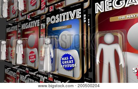 Positive Vs Negative Action Figures Good Attitude 3d Illustration