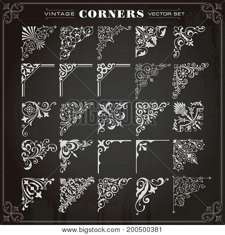 Vintage Design Elements Corners Borders Frames Set 1 Vector