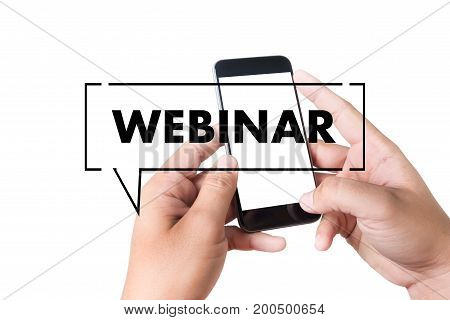 Webinar Hand On Table Use E-business Browsing Connection In Computer, Coffee, Split Tone