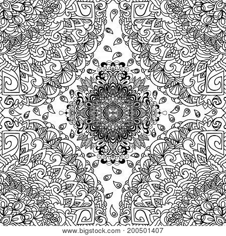 Abstract background. Vector illustration. Ethnic mandala monochrome seamless pattern. Indian ornament
