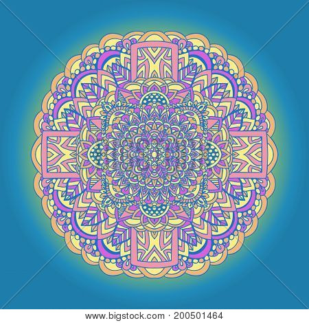 Abstract mandala ornament on blue background. Asian pattern. Orange gradient authentic background