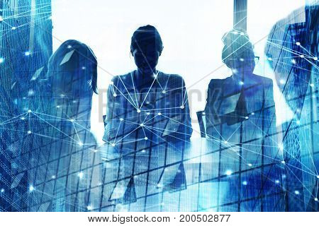 Silhouette of businessperson in a modern office with network effect. concept of partnership and teamwork