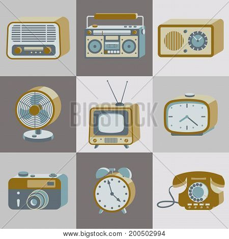 Set of retro electronic devices. 20th century gadgets. Vector illustration.