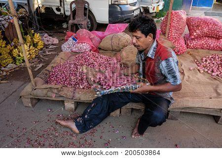 Vendor At Rural Market In Colombo, Sri Lanka