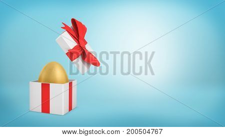 3d rendering of an open white gift box with a red ribbon bow holds a golden egg inside. Best offer. Valuable purchase. Well-spent money.