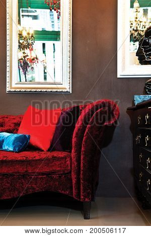 beautiful Red Flannel sofa in living room