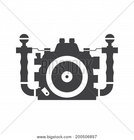 Waterproof underwater camera vector icon. DSLR in water box silhouette isolated on white background.