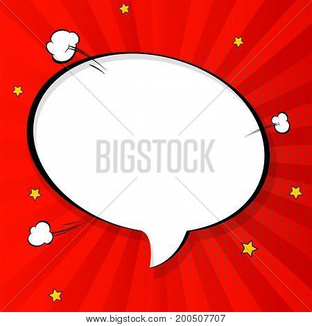 Pop art chat bubble in comics book style, blank layout template with halftone dots, comic speech bubble. Clouds beams and isolated dots pattern. Thoughts bubble in pop art comics style on red.