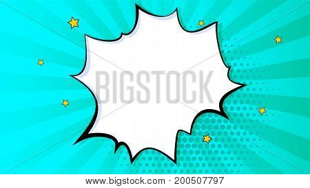 Pop art splash background, explosion in comics book style, blank layout template with halftone dots, comic bubble. Clouds beams and isolated dots pattern. Thoughts bubble in pop art comics style.
