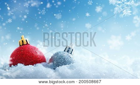 Christmas bauble covered with snow on snowflakes background - 3D Rendering