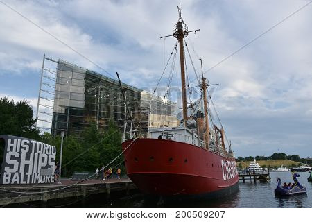 BALTIMORE, MARYLAND - JUL 2: United States lightship Chesapeake (LV-116) docked at the Inner Harbor in Baltimore, Maryland, as seen on July 2, 2017.