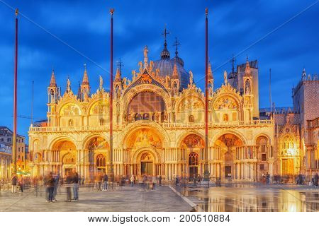 Square Of The Holy Mark (piazza San Marco) And St. Mark's Cathedral (basilica Di San Marco) At The N