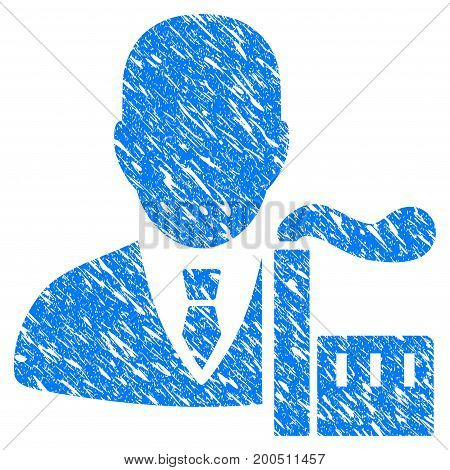Grunge Capitalist Oligarch icon with grunge design and scratched texture. Unclean vector blue pictogram for rubber seal stamp imitations and watermarks. Draft sticker symbol.