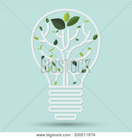 Idea eco with Green leaf. Gray outline vector illustration
