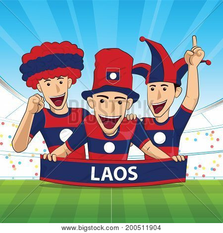 Laos Flag. Cheer football support Vector illustration.