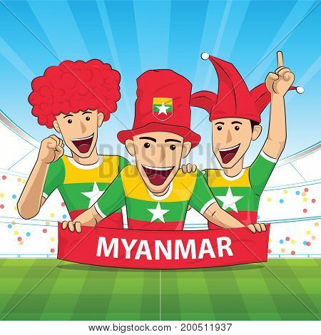Myanmar Flag. Cheer football support Vector illustration.