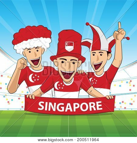 Singapore Flag. Cheer football support Vector illustration.