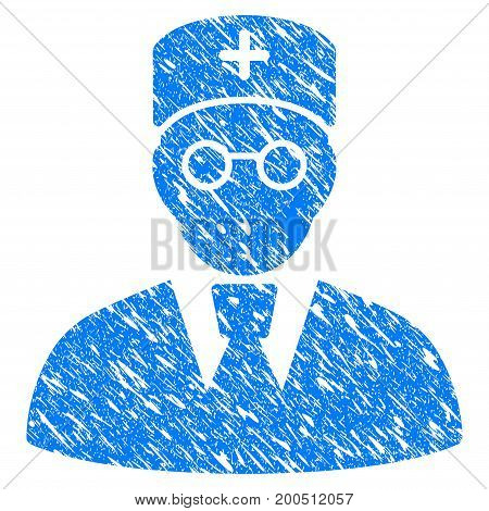 Grunge Doctor icon with grunge design and unclean texture. Unclean vector blue pictogram for rubber seal stamp imitations and watermarks. Draft sticker symbol.