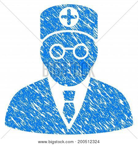 Grunge Head Physician icon with grunge design and unclean texture. Unclean vector blue pictogram for rubber seal stamp imitations and watermarks. Draft sign symbol.