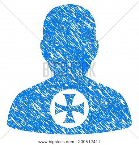 Grunge Hero Medal icon with grunge design and scratched texture. Unclean vector blue pictogram for rubber seal stamp imitations and watermarks. Draft emblem symbol.
