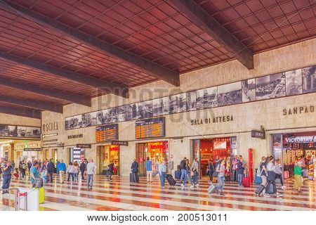 Florence, Italy - May 15, 2017 : Main  Florence  Railways Station- Firenze Santa Maria Novella With