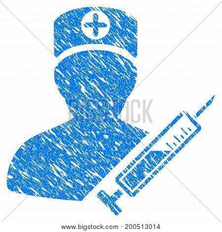 Grunge Medic icon with grunge design and dust texture. Unclean vector blue pictogram for rubber seal stamp imitations and watermarks. Draft sticker symbol.