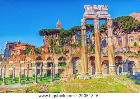 Archaeological And Historical Objects In Rome, United By The Name - Roman Forum.foro Di Cesare. Foru