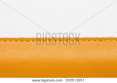 Closeup stitched leather brown color on white canvas background