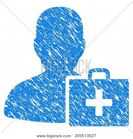 Grunge Paramedic icon with grunge design and scratched texture. Unclean vector blue pictogram for rubber seal stamp imitations and watermarks. Draft sticker symbol.