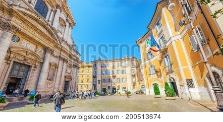 Rome, Italy - May 09, 2017 : Church Of St. Ignatius Of Loyola At Campus Martius (italian: Chiesa Di