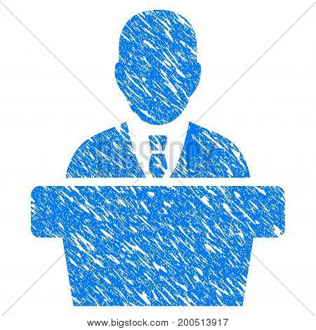 Grunge Politician icon with grunge design and dust texture. Unclean vector blue pictogram for rubber seal stamp imitations and watermarks. Draft emblem symbol.