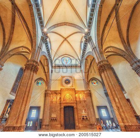 Florence, Italy- May 14, 2017: Inside, Interior Of  Santa Maria Del Fiore(cattedrale Di Santa Maria