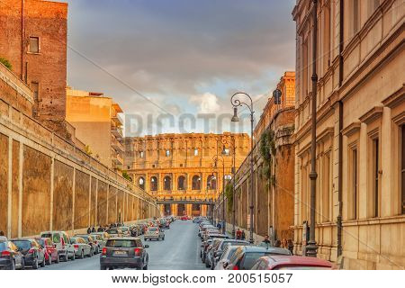 Rome, Italy-may 07, 2017:  Beautiful Landscape Of The Colosseum In Rome Through Street Via Degli Ann