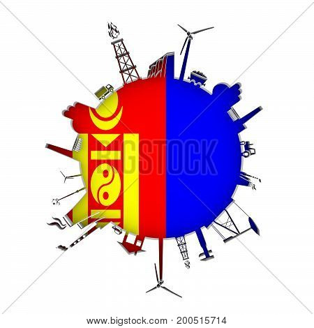 Circle with industry relative silhouettes. Objects located around the circle. Industrial design background. Flag of Mongolia in the center. 3D rendering.