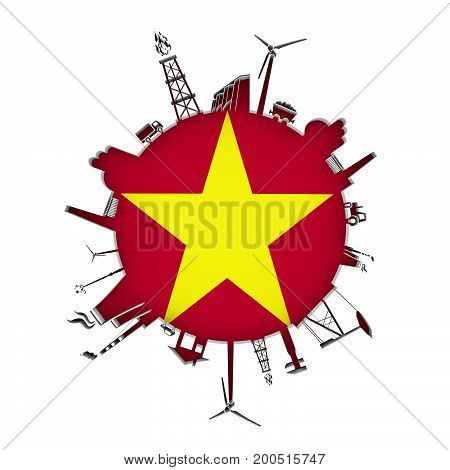 Circle with industry relative silhouettes. Objects located around the circle. Industrial design background. Flag of Vietnam in the center. 3D rendering.