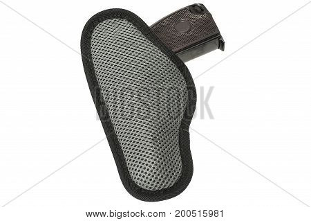 Handgun In The Nylon Holster. Isolated
