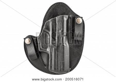 Molded Leather Holster Without Handgun. Isolated